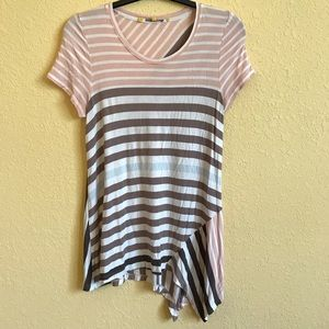 Little Yellow Button Striped Tunic Top